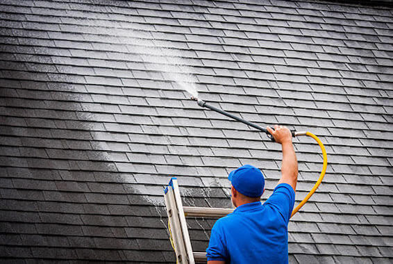 a man cleans roof Royal Wash